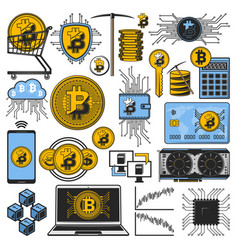 bitcoin cryptocurrency money blockchain mining vector image