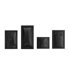 Black sachet pouch bags mockup wet wipes vector