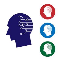 blue human brain as digital circuit board icon on vector image