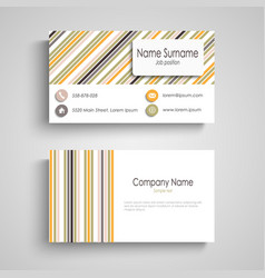 business card with colorful retro stripes template vector image