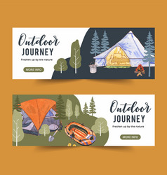 Camping banner design with tree pot tent campfire vector