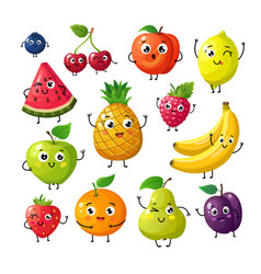 cartoon funny fruits happy kiwi banana raspberry vector image