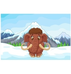 Cartoon mamouth in the ice mountain vector image