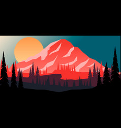 cartoon mountain landscape with fir trees in flat vector image