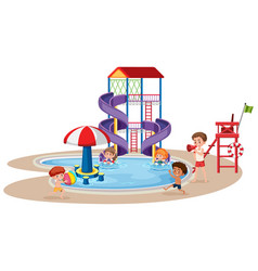 children playing in a waterpark vector image