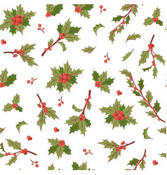 Christmas berry holly mistletoe leaves seamless vector