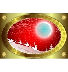 Christmas red background with gold rim vector