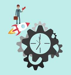 Clock gear icon business design vector