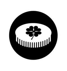 Coin with clover icon vector