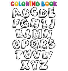 coloring book alphabet theme 1 vector image