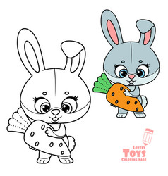 cute cartoon toy soft rabbit with carrot in hands vector image