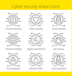 Cyber security linear icons set vector