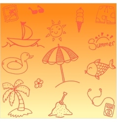 Doodle summer orange backgrounds vector