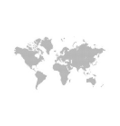 dotted world map background digital black dot vector image