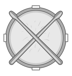 Drum and drumsticks icon monochrome vector