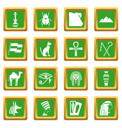 Egypt travel items icons set green vector
