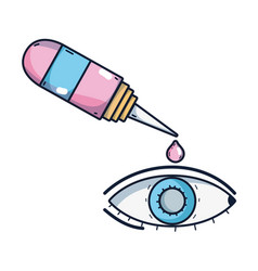 eye with conjunctivitis and medical bottle drop vector image