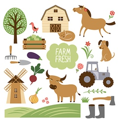 Farm animals and related vector