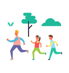 Fitness jogging father kids vector