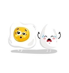 Funny whole and fried egg cartoon character vector image