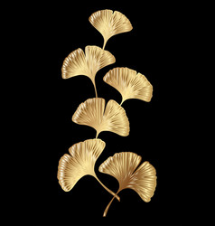 golden ginkgo biloba branch with leaves vector image