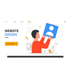 graphic designer creating web page template vector image