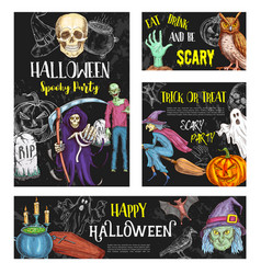 halloween friday horror party sketch poster vector image