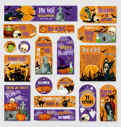 halloween holiday spooky party tag label design vector image