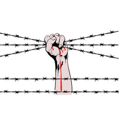 Hand barbed wire vector
