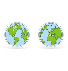 Hand drawn planet earth with both globes vector image