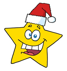 happy christmas star smiling vector image