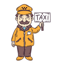 happy taxi driver vector image