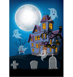 haunted house and ghost with halloween background vector image