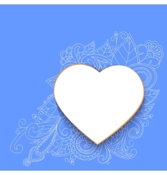 Heart with doddle pattern vector