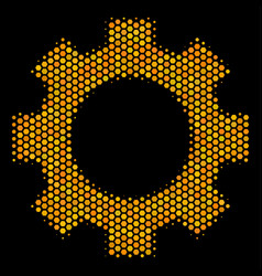 hexagon halftone gear icon vector image