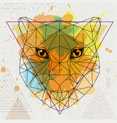Hipster polygonal animal cheetah on artistic vector