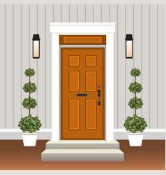House door front with doorstep and steps window vector
