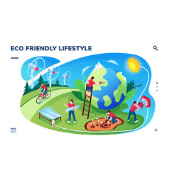 isometric screen with eco friendly lifestyle vector image