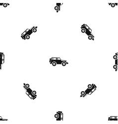 Jeep pattern seamless black vector