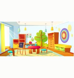 Kids playroom interior empty indoors nursery room vector