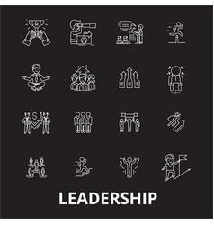 leadership editable line icons set on black vector image