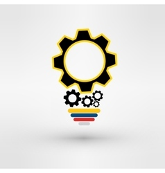 light bulb with gears and cogs working together vector image