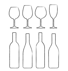 linear set wine bottle and glasses vector image