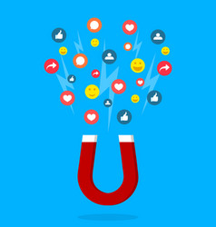 Magnet lead social media social page with like vector