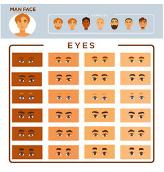 Man face constructor with samples and eyes set vector