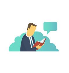 Man reading book ebook reader electronic book vector