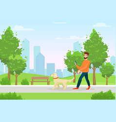 man with dog flat morning vector image