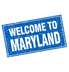 Maryland blue square grunge welcome to stamp vector