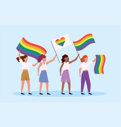 men with rainbow and heart flag to lgbt parade vector image