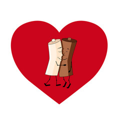 milk and coffee on a heart valentines day vector image